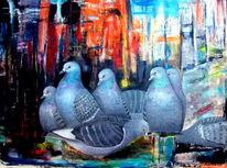 Taube, Stadt, Ölmalerei, Malerei