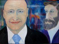 Portrait, Hell, Abbe, Ölmalerei
