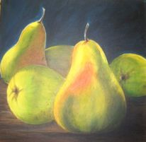 Malerei, Stillleben, Obst, Birne