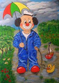 Spaziergang, Malerei, Regenschirm, Clown