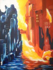 Dämmerung, Gelb, Abstrakt, Stadt