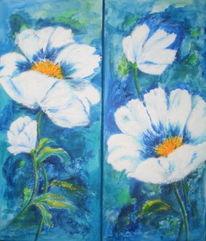 Blüte, Blumen, Weiß, Malerei