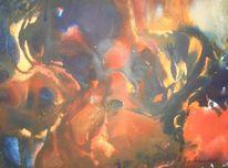Malerei, Rost, Orange, Indigo