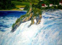 Wasser, Landschaft, Wasserfall, Malerei