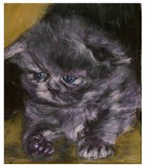 Acrylmalerei, Katze, Malerei, Figural