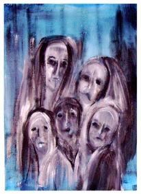 Malerei, Frau, Trauern, Krieg