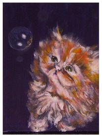 Katze, Acrylmalerei, Seifenblasen, Malerei