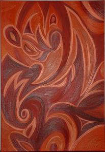 Rot, Kupfer, Acrylmalerei, Abstrakt