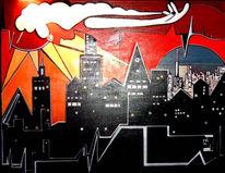 Surreal, Stadt, Malerei, Rhythmus
