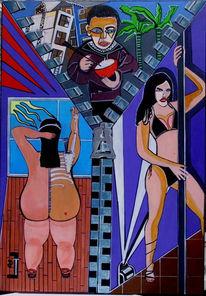 Surreal, Ungerechtigkeit, Malerei, Stangentanz
