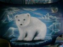 Eislandschaft, Antarktis, Airbrush, Eisbär