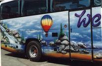 Reisebus, Airbrush, Landschaft, Malerei