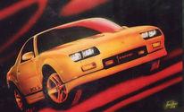 Auto, Camaro, Gelb, Airbrush