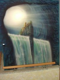 Treppenabgang, Airbrush, Türkies, Wandmalerei