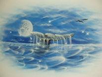 Wal, Fluke, Blau, Airbrush