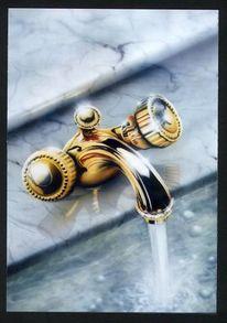Wasserhahn, Gold, Marmor, Airbrush