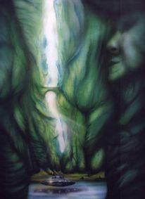 Acrylmalerei, Airbrush, Grün, Tief