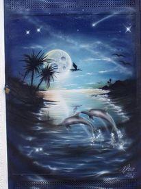 Airbrush, Blau, Palmen, Matall