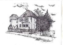 Federzeichnung, Federstich, Zeichnung, Wohnhaus