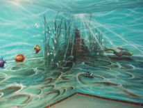 Airbrush, Tiefe, Wasser, Wandmalerei