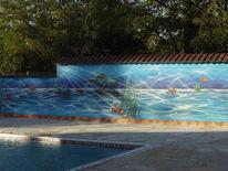 Schwimmbad, Wandmalerei, Becken, Airbrush