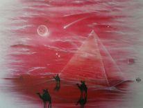 Pyramide, Raufaser, Airbrush, Rot