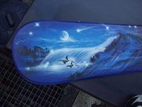 Orka, Blau, Airbrush, Wal