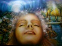 Vision, Schlaf, Airbrush, Frau