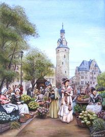 Landschaft, Malerei, Halle, Turm