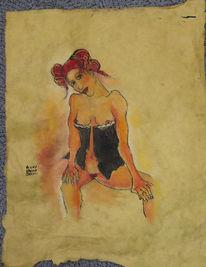 Zeichnung, Frau, Junge, Acrylmalerei
