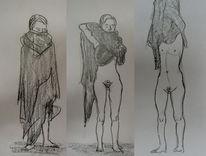 Zeichnung, Enthüllen, Verhüllen, Frau
