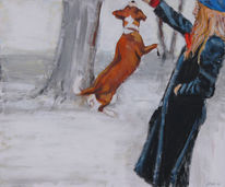 Hund, Sprung, Frau, Aktion