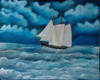 Malerei, Sturm, Segelschiff