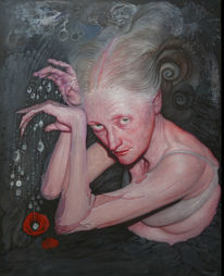 Frau, Sorge, Malerei, Surreal