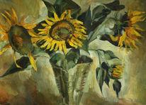 Stillleben, Malerei, Sonnenblumen