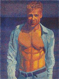 Acrylmalerei, Bruneck, Akt, Pixelisme
