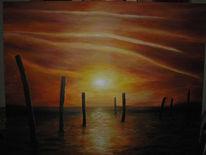Malerei, Sonne, Untergang, Orange