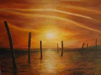 Malerei, Landschaft, Untergang