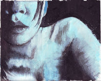 Körper, Lippen, Blau, Mädchen