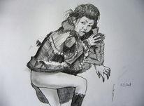 Japanisch, Dunkel, Zeichnung, Mädchen