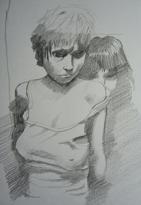 Frau, Zeichnung, Menschen, Skizze