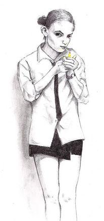 Mädchen, Zigarette, Zeichnung, Zeichnungen