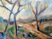 Weg, Licht, Baum, Malerei