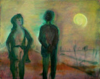 Kalt, Malerei, Mond, Figural