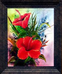 Hibiskus, Malerei, Blumen, Stillleben