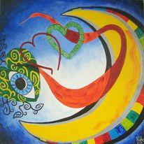 Malerei, Fantasie, Herz, Mond