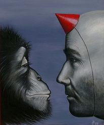 Fragezeichen, Affe, Malerei, Krone