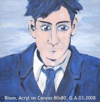 Portrait, Frau, Blau, Androgyn
