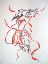 Krieger, Skizze, Malerei, Chinesisch