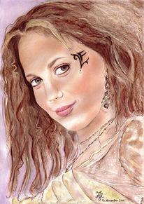 Portrait, Zeichnung, Zeichnungen, Sängerin